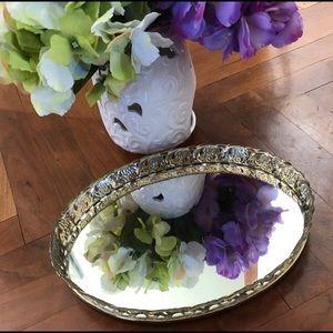 Vintage oval mirrored vanity tray